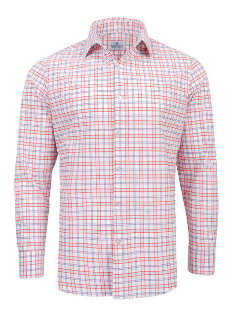 "The ""Sawgrass"" Button Down in Red, Orange, & Purple Check by Mizzen+Main"