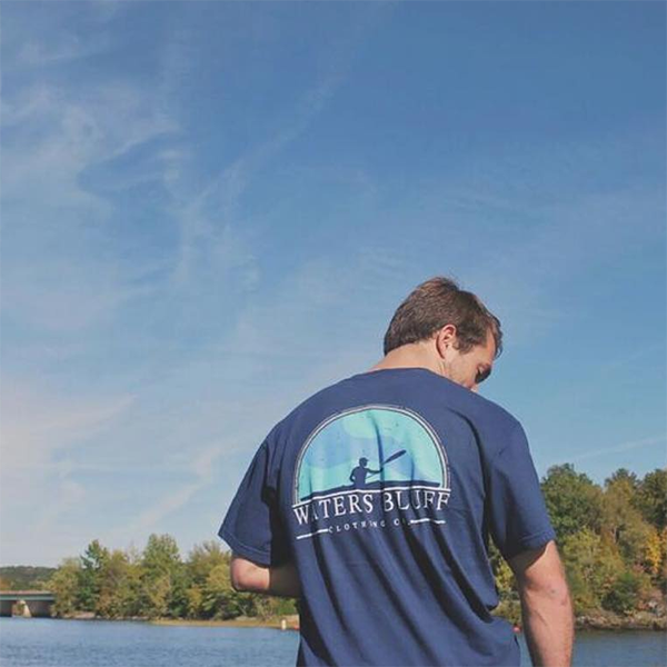 Paddler Tee Shirt in Navy by Waters Bluff Clothing Co.