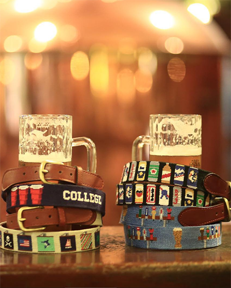 smathers and branson beer taps needlepoint belt