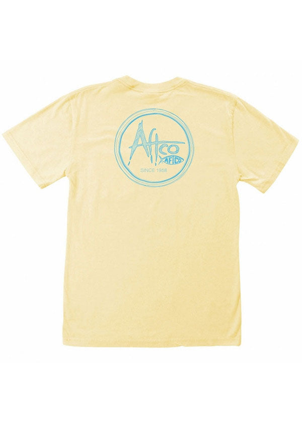 Scribble Pocket Tee Shirt in Yellow by AFTCO