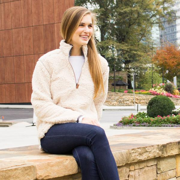 Quarter Zip Sherpa Pullover in Oyster by The Southern Shirt Co.