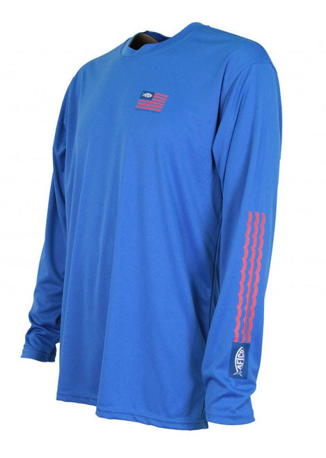 Spangled Long Sleeve Sun Shirt in Blue by AFTCO