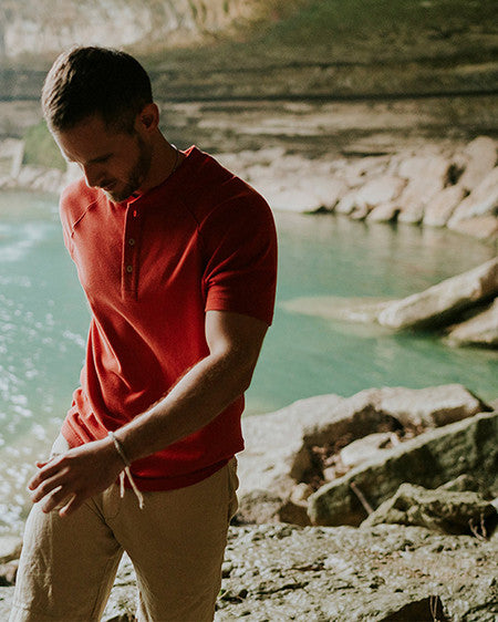 puremeso heathered henley by The Normal Brand