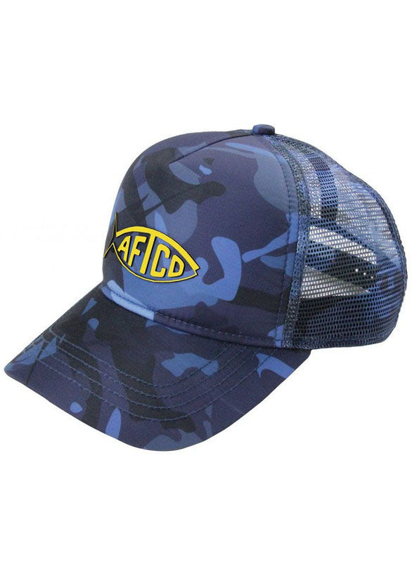 Camo Trucker Hat in Blue by AFTCO