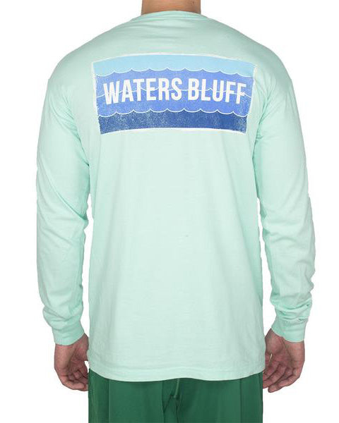 Wave Logo Long Sleeve Tee Shirt in Blue Jean by Waters Bluff