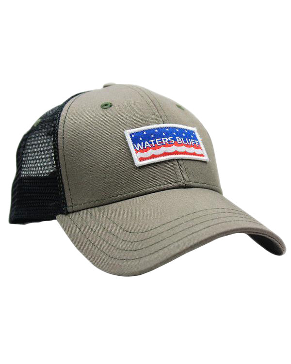 Stars & Waves Trucker Hat in Surplus Green by Waters Bluff Clothing Co.