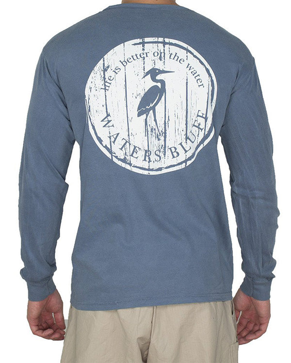Wood Grain Long Sleeve Tee Shirt in Blue Jean by Waters Bluff