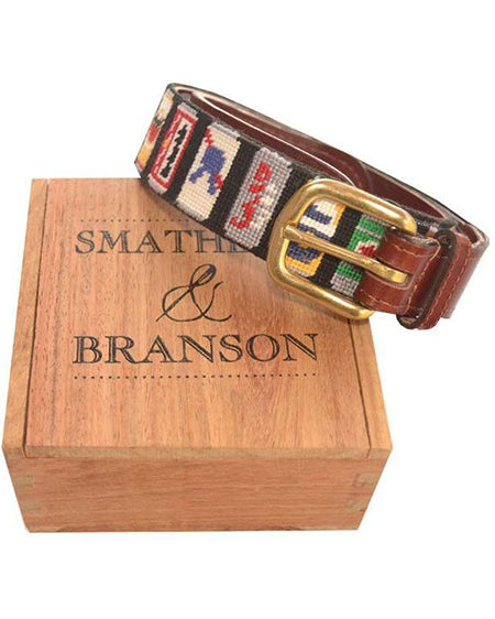 smathers and branson beer cans needlepoint belt