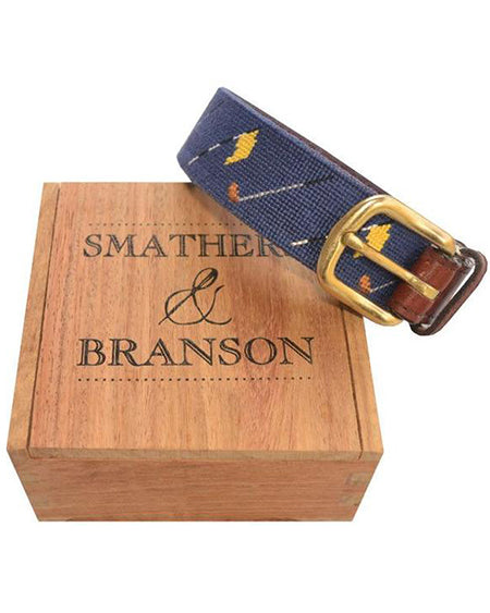 smathers and branson golf flags needlepoint belt