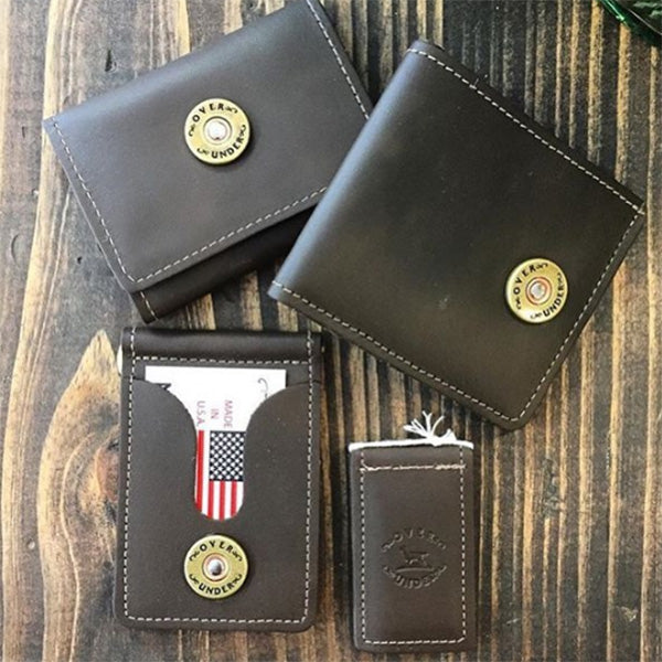 over under tri fold leather wallet