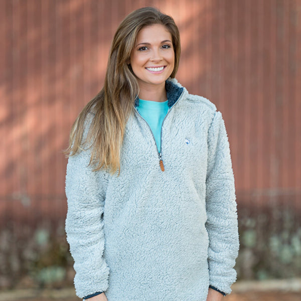 Quarter Zip Sherpa Pullover in Magnet Grey by The Southern Shirt Co.