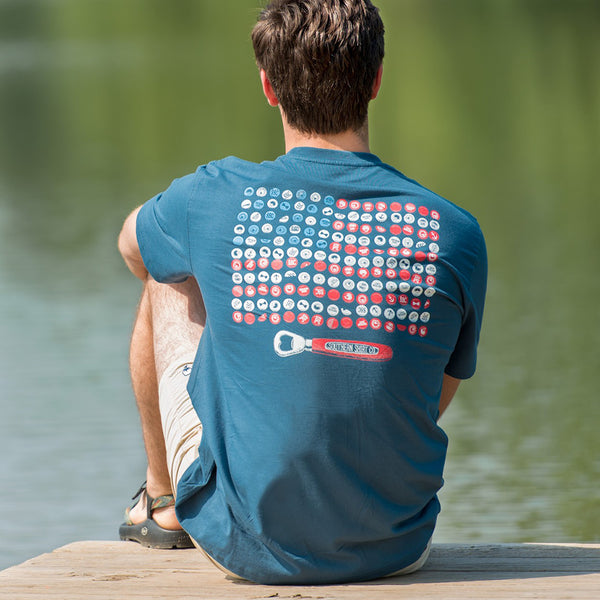 Bottle Cap Flag Pocket Tee Shirt in Indian Teal by the southern shirt co.