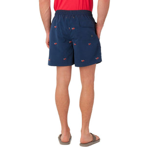 Embroidered Flag Swim Trunk in Navy   - 6