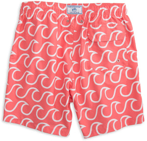 Surfs Up Swim Trunks in Sunset Red