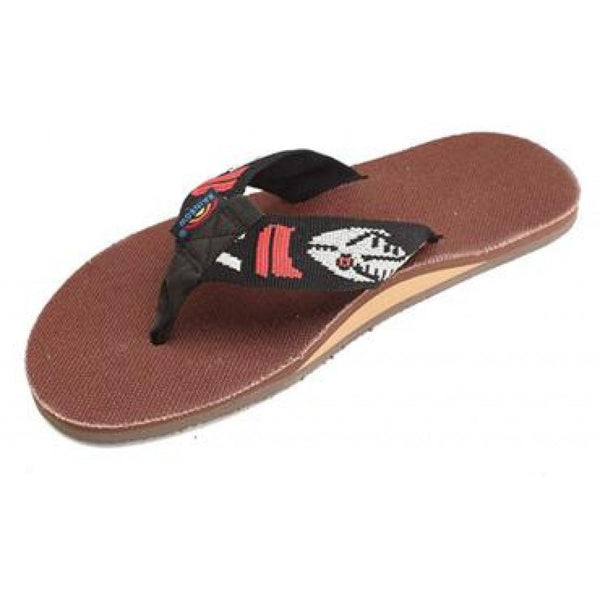 Brown Hemp Top Single Layer Arch Sandal with Silver Fish Strap by Rainbow Sandals