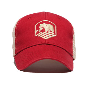 Bear Crest Activewear Trucker Hat in Red   - 1