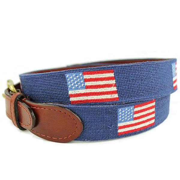 American Flag Needlepoint Belt in Navy by Smathers   Branson 1b74ad5333