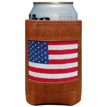 American Flag Needlepoint Can Holder