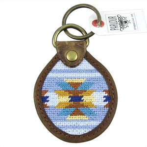 Aztec Needlepoint Key Fob in Blue by Parlour  - 1