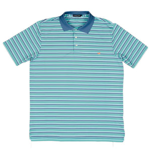 Bermuda Performance Golf Polo in Teal and Slate Stripes by Southern Marsh  - 2