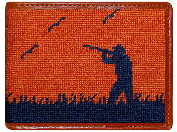 Bird Hunter Needlepoint Wallet in Orange