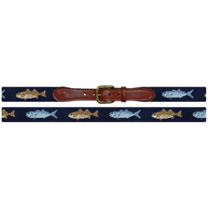 Bluefish and Striper Needlepoint Belt in Dark Navy