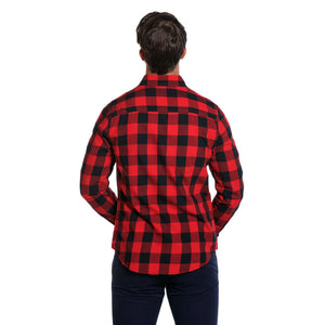Brushed Buffalo Button Down Shirt in Red & Black   - 3