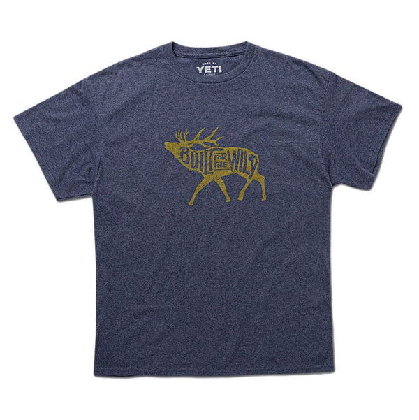 Built For The Wild Bugling Elk Tee in Heather Navy   - 1