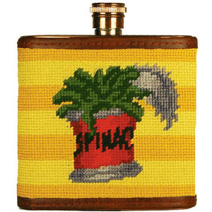 Can of Spinach Needlepoint Flask in Yellow by Parlour