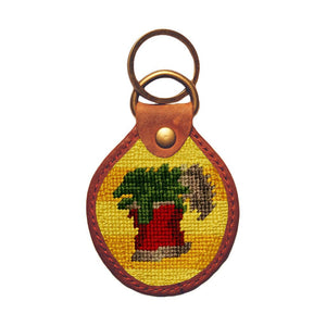 Can of Spinach Needlepoint Key Fob in Yellow by Parlour