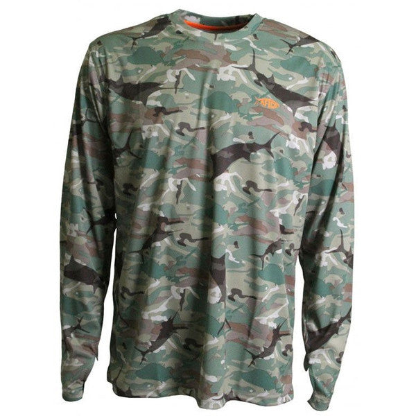 Caster Long Sleeve Sun Shirt in Blue Camo