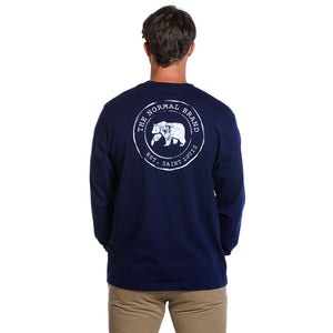 Circle Back Logo Long Sleeve Tee in Navy   - 2
