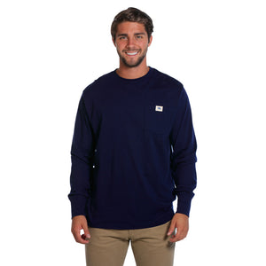 Circle Back Logo Long Sleeve Tee in Navy   - 1