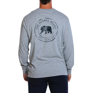 Circle Back Logo Long Sleeve Tee in Grey by The Normal Brand