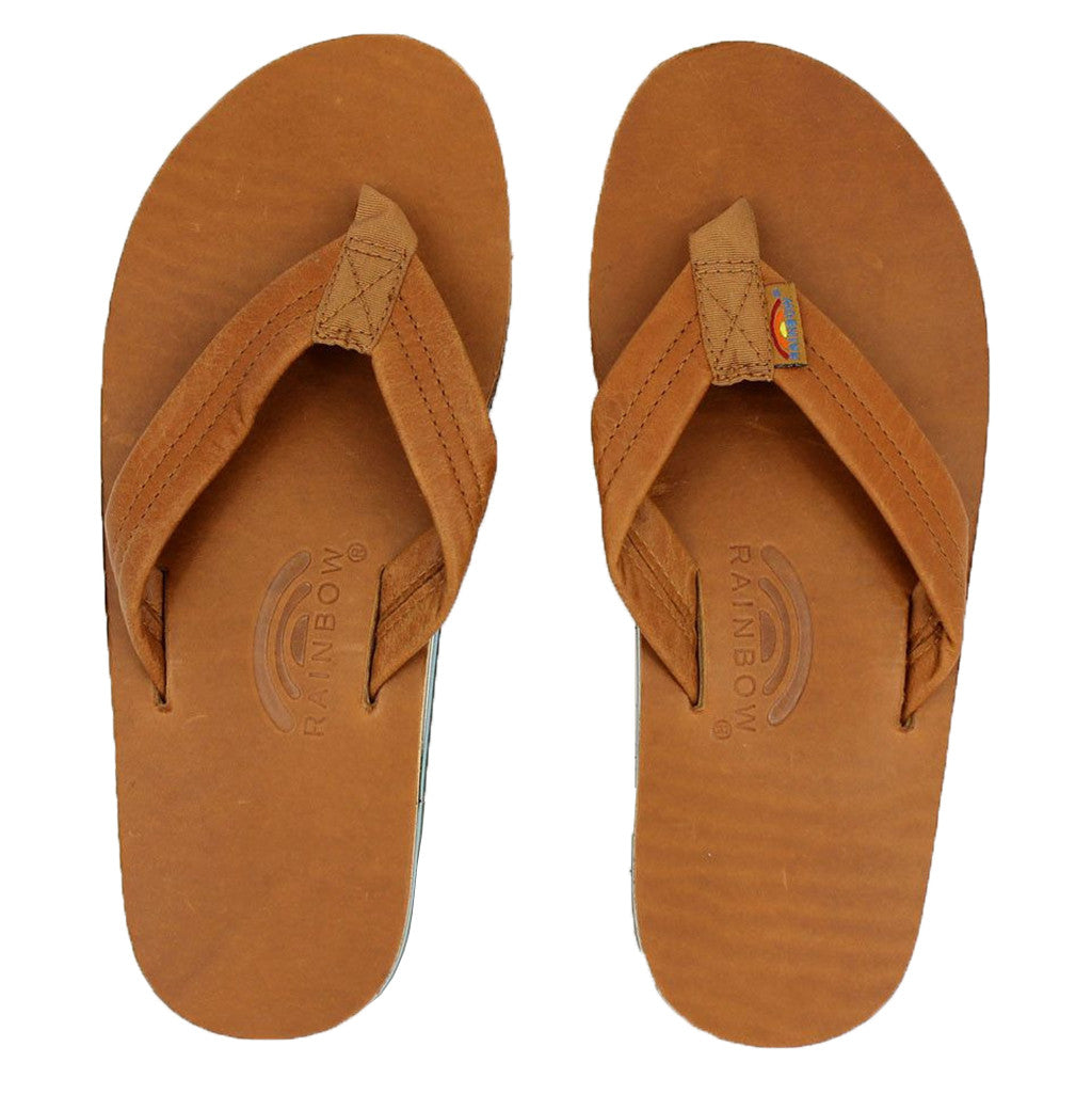 b762a7a5ec36 Rainbow Sandals Classic Leather Double Layer Arch Sandal in Tan with Blue -  Tide and Peak Outfitters