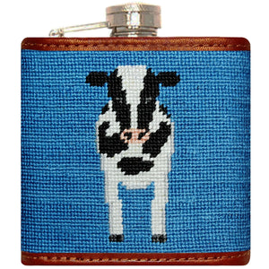 Cow Needlepoint Flask in Blue
