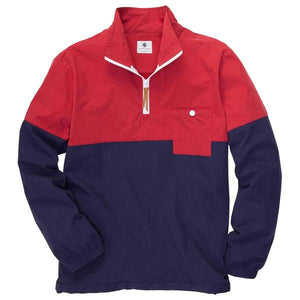 Dock Pullover in Madras Red and Navy