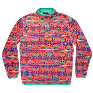Dorado Fleece Pullover in Coral and Teal   - 1