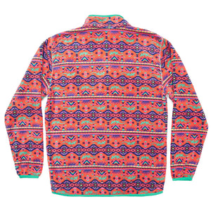 Dorado Fleece Pullover in Coral and Teal   - 3