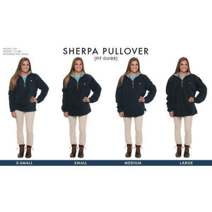 <b>PRE-ORDER</b> Heathered Quarter Zip Sherpa Pullover in Navy by The Southern Shirt Co.  - 2