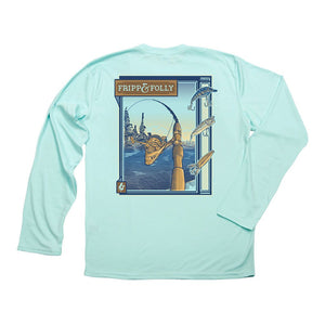 Fripp & Folly Freshwater Reel Wicking Long Sleeve Tee in Seagrass