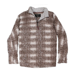 Frosty Tipped Big Plaid Pile 1/4 Zip Pullover