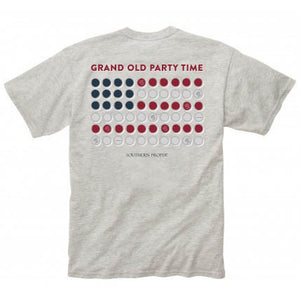 Grand Old Party Time Tee Shirt in Grey by Southern Proper