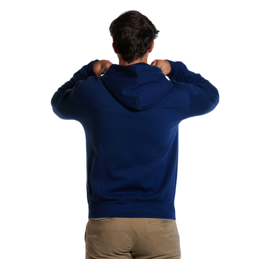 Garment Washed Full-Zip Hoodie in Navy   - 1