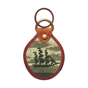 Ghost Ship Needlepoint Key Fob in Blue and Grey by Parlour