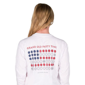 Grand Old Party Time Bottle Cap Flag Long Sleeve Tee in White   - 3