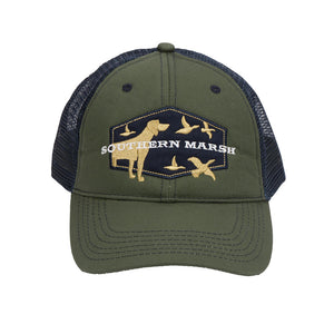 Hunting Dog Trucker Hat in Dark Olive by Southern Marsh  - 1