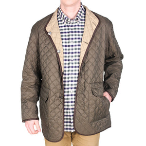 Quilted Reversible Jacket in Olive Green & Khaki by Madison Creek Outfitters  - 1