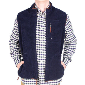 Reversible Sherpa Vest in Navy & Khaki by Madison Creek Outfitters  - 1