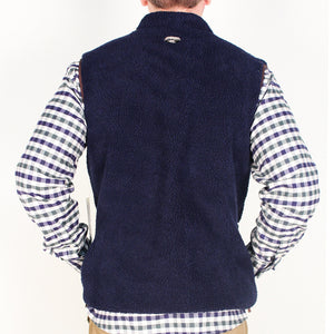 Reversible Sherpa Vest in Navy & Khaki by Madison Creek Outfitters  - 3